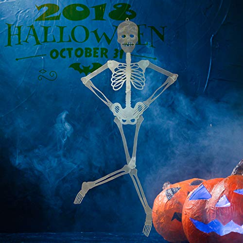 (alesTOY 3ft Pose-N-Stay, Glow-in-The-Dark Skeleton for Halloween Party Favors Props and)