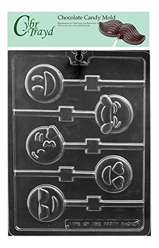 Cybrtrayd Emoji Lolly Chocolate Candy Mold in Sealed Poly Bag w/Copyrighted Molding Instructions Life of the Party M248