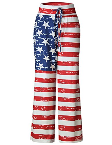 Buauty Women's Comfy Soft Stretch Wide Leg American Flag Print Palazzo Pajama Pants Lounge Printed Lounge Pants