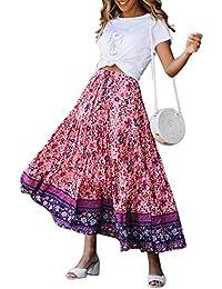 af9a3ac929 Women's Pleated Floral Print Elastic High Waist Drawstring Ruffle Vintage Midi  Skirts