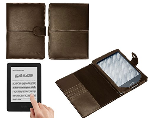 - Navitech Brown Premium Executive Bycast Leather Flip Folio Book Style Carry Case Compatible With The New Kindle Wi-Fi, 6