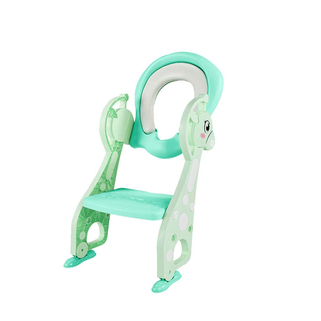 Portable Toilet Ring Baby Travel Potty Folding Chair, Baby Toilet Trainer Seat with Step Stool Ladder Toilet Seat, Sturdy & Non-Slip (Green)