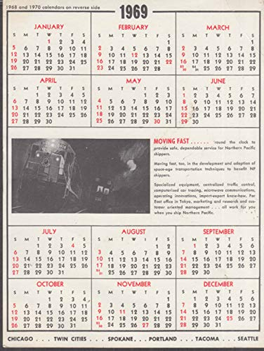 Northern Pacific Railway 1968-1969-1970 Calendar - 1970 Calendar