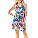Outsta Womens Summer Vintage Boho Evening Party Beach Floral Dress Mini Beach Dress (Blue, S)