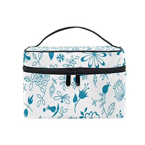 Makeup Case Blueangle Portable Single Layer Make up Travel Cosmetic Bags with Blue Vine Pattern-Multicolor Medium size (American Makeup Brand Owned By L Oreal)