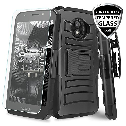 TJS Motorola Moto E5 Play / E5 Cruise/E Play 5th Gen Case, with [Tempered Glass Screen Protector] Belt Clip Holster Dual Layer Hybrid Shock Absorbing Resist Kickstand Armor Phone Case (Black/Black)