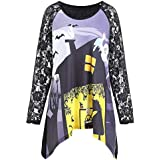 Women Halloween Lace Round Neck Printed Pumpkin Irregular Sweatshirts For Women Shirt Blouse Tops T-shirts