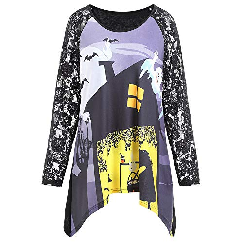 kaifongfu Ladies Shirt,Lace Halloween Round Neck Print Irregular Tops(Black,3XL) for $<!--$7.62-->