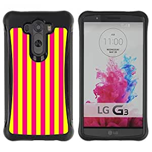 Suave TPU Caso Carcasa de Caucho Funda para LG G3 / Vertical Lines Bright Yellow Purple / STRONG