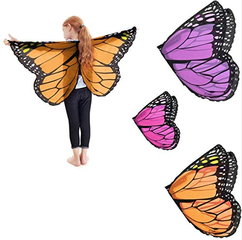 Kids' Chiffon Butterfly Costume Wings with Hand/Finger and Neck Loops - Girls, Boys Halloween -