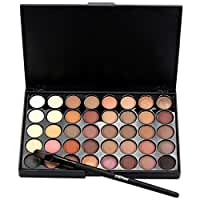 LandFox Cosmetic Matte Eyeshadow Cream Makeup Palette Shimmer Set 40 Color+ Brush Set (A)