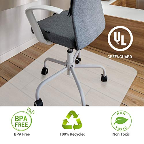 Office Chair Mat Hardwood Floor Protector Recycled Transparent Polycarbonate Vinyl BPA Free and Phthalates Free Non Slip Home Office Desk Floor Mats 35inches x 47inches (Hard Floor Chair Mat)