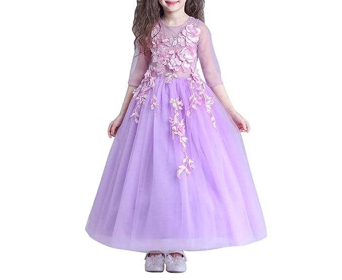 WHENOW Niñas Vestido de Princesa de Flores para Vestidos de Niña para Cumpleaños Vintage Bodas