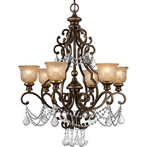 Six Light Accents Chandelier (Crystorama 7516-BU-CL-MWP Crystal Accents Six Light Chandelier from Norwalk collection in Bronze/Darkfinish,)