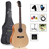 WINZZ 41'' Guitar Full Size Dreadnought Acoustic Steel Strings with Bag, Picks, Strap, String, Digital Tuner and Stand
