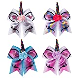 Ncmama 7' Girls Large Bows With Elastic Band For Cheerleader Ponytail Tie Pack of 4