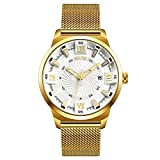 EOBP Mens Watches Fashion Sports Quartz Watch Stainless Steel Gold colour Strap Top Brand Luxury Simple Style Business Watch 30M Waterproof (white)