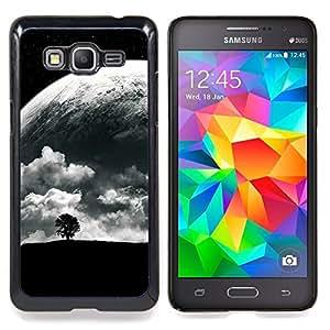 """Árbol solo y Luna"""" - Metal de aluminio y de plástico duro Caja del teléfono - Negro - Samsung Galaxy Grand Prime G530F G530FZ G530Y G530H G530FZ/DS"""