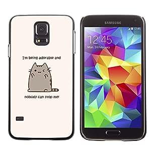 Paccase / SLIM PC / Aliminium Casa Carcasa Funda Case Cover para - Cute Cat Cartoon Funny Fat Yellow Text - Samsung Galaxy S5 SM-G900