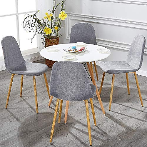 VECELO Dining Chairs for Kitchen/Dining/Living/Lounge Room, Fabric Cushion Seat Back Sturdy Metal Legs, Set of 4,Grey by VECELO (Image #8)