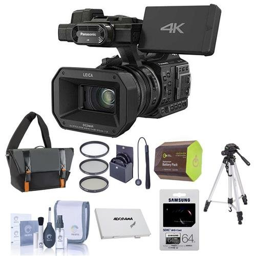 Panasonic HC-X1000 1080p 4K Ultra High Definition Camcorder – Bundle with Camcorder Case, 64GB Claas10 SDXC Card, Tripod, Spare Battery, Cleaning Kit, Memory Card Case, Cap Leash, 49mm Filter Kit
