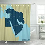 Emvency Shower Curtain Red Gulf Middle East Map Arabian Syria Waterproof Polyester Fabric 72 x 72 inches Set with Hooks