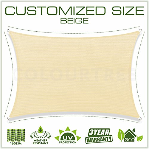 ColourTree Customized Size 6 x 12 Beige Sun Shade Sail Canopy UV Block Rectangle – Commercial Standard Heavy Duty – 190 GSM – 3 Years Warranty