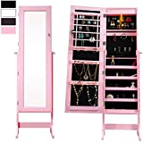 Cloud Mountain Mirrored Jewelry Cabinet Free-Standing Lockable Jewelry Armoire Full Length Floor Tilting Jewelry Organizer with LED Light, 4 Adjustable Angles Storage, Pink