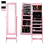 Cloud Mountain Pink Jewelry Armoire Mirrored Jewelry Cabinet Lockable Storage Organizer with LED Light, Pink