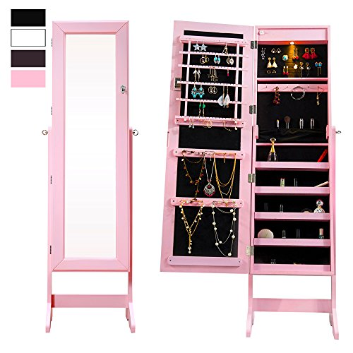 Cloud Mountain Mirrored Jewelry Cabinet Free-Standing Lockable Jewelry Armoire Full Length Floor Tilting Jewelry Organizer with Mirror and LED Light 4 Angle Adjustable Organizer Storage, Pink
