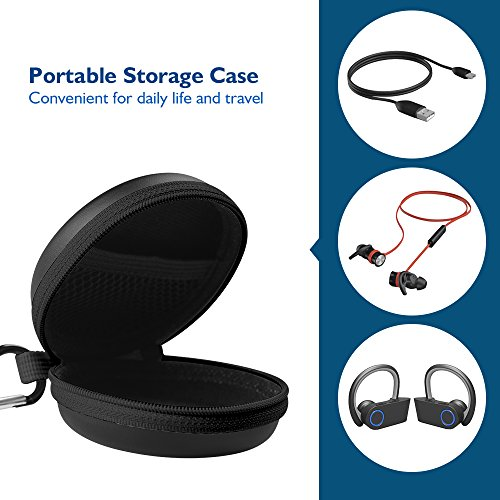 Large Product Image of HiGoingl Carrying Cases Sweatproof Travel Carrying Cases Portable Protection EVA Hard Earpieces with Carabiner, Black