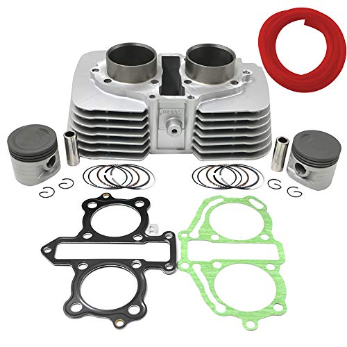 AHL Cylinder Head Piston Kit Gasket Fuel Filter 1m Oil Tube Set 53mm Bore for Honda CA250 CMX250 1996-2011/CMX250C Rebel 250 1996-2015 12100-KBG-671