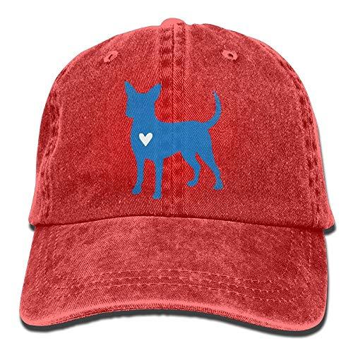 2018 Adult Fashion Cotton Denim Baseball Cap Chihuahua Clipart Silhouette Classic Dad Hat Adjustable Plain Cap Red
