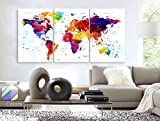 Large 30″x 60″ 3 Panels 30×20 Ea Art Canvas Print Watercolor Map World Push Pin Travel cities Wall colorfull decor Home interior (framed 1.5″ depth) Picture