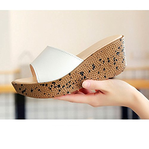 Sandals Holiday Open White T Slide Beach Heel Women's Slippers Wedge Toe Flatforms Sandals JULY Back FZttqH7x