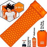 HKNG Ultralight Sleeping Pad with Pillow - for Backpacking, Portable Lightweight Waterproof Survival Outdoor Camping Travel 75D Rip Stop Polyester. 3-in-1 Roll Top Air Pump and Dry Bag (Orange)