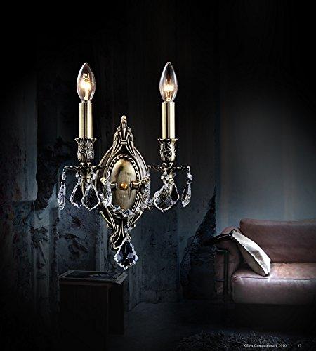 Crystal World 2 Light Antique Brass Wall ()