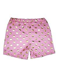 Petitebella Pink Gold Polka Dots Cotton Flat Short Pant Wear Girl Clothing 1-8y
