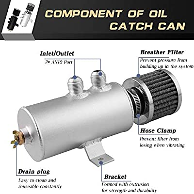 RYANSTAR Baffled Oil Catch Can Oil Breather Tank with Drain Valve 2 Ports 10AN 750ml Silver: Automotive