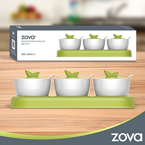 zova Ceramic Condiment Spice Jars Seasoning Box with Lid, Serving Spoon and Tray, Set of 3, White & Green by MR.SIGA (Image #6)