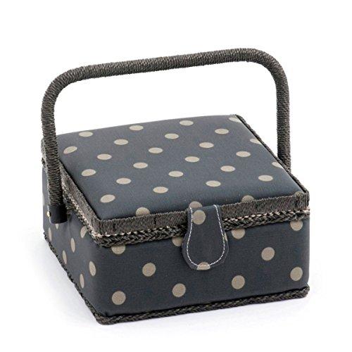 HobbyGift Value Small Sewing Box Charcoal Polka Dot (Matt PVC)