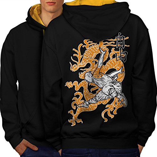wellcoda Buddhist Monk Mens Contrast Hoodie, Oriental Print on The BackBlack (Gold Hood) M