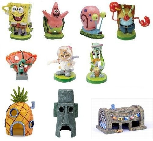 Penn Plax Spongebob Aquarium Decorations Set 10pc by Penn Plax