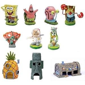 Penn Plax Spongebob Aquarium Decorations Set 10pc 88
