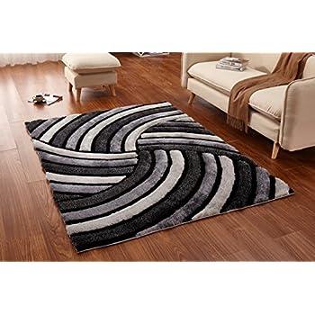 Casa Regina Shaggy Collection   3D Design   Abstract Spiral Swirl Grey  Black Soft Shag Area