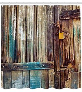 Abakuhaus Rústico Cortina de Baño, Fondo Antigua Puerta de Cobertizo Detalles de Color Vida Campestre Imagen…