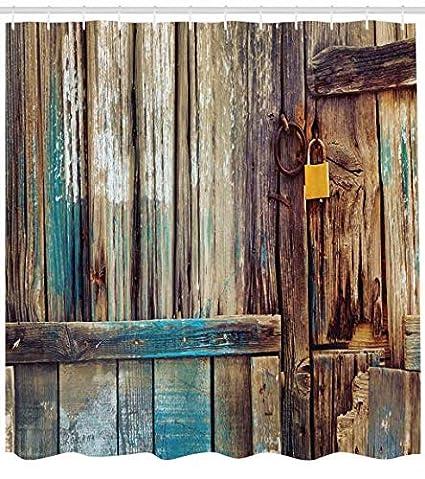 Abakuhaus Rústico Cortina de Baño, Fondo Antigua Puerta de Cobertizo Detalles de Color Vida Campestre Imagen Pastoril, Impression numérique Sur Tissu, ...