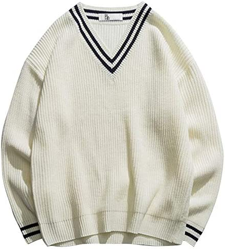 【BLUEHOUR ブルーアワー】Vネック ニット セーター ゆったり オーバーサイズ ビッグシルエット カジュアル 秋冬 ホワイト ネイビー メンズ レディース ユニセックス 大きいサイズ