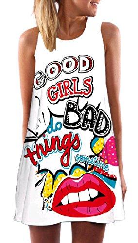 Sleeveless Digital Weekend Stylish Pattern18 Dress line A Sun Coolred Short Print Women Crewneck 15YXqTIn