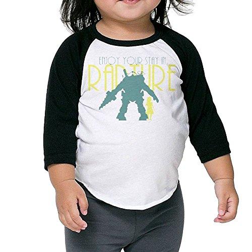 Grace Little Bioshock New Design Boys & Girls Infant 100% Cotton 3/4 Sleeve Raglan T-Shirts Unisex Black -